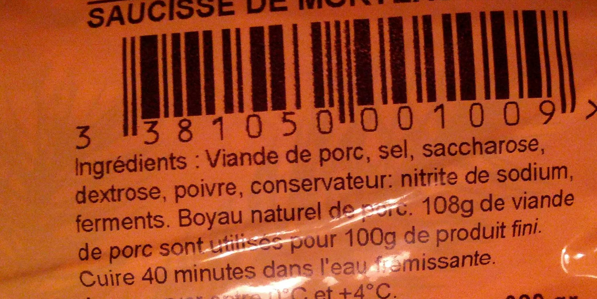Saucisse de Morteau - Ingredients - fr