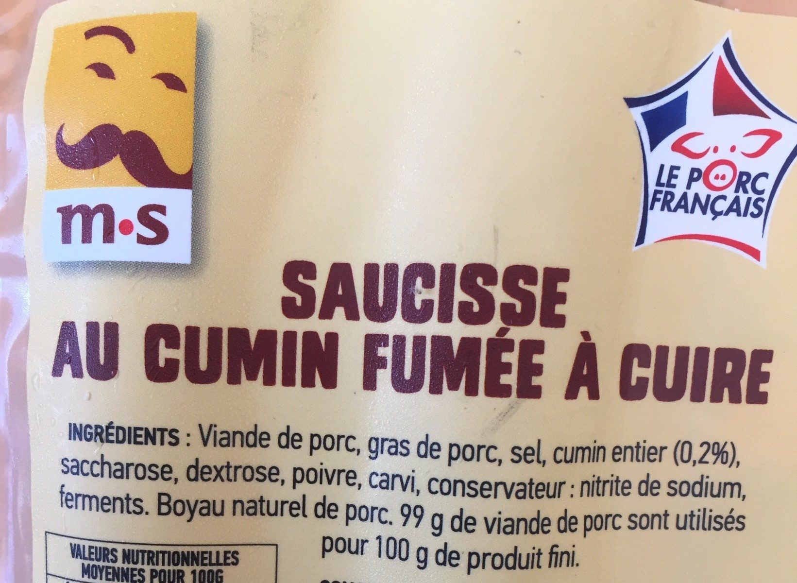 Saucisses fumées au cumin - Ingredients - fr