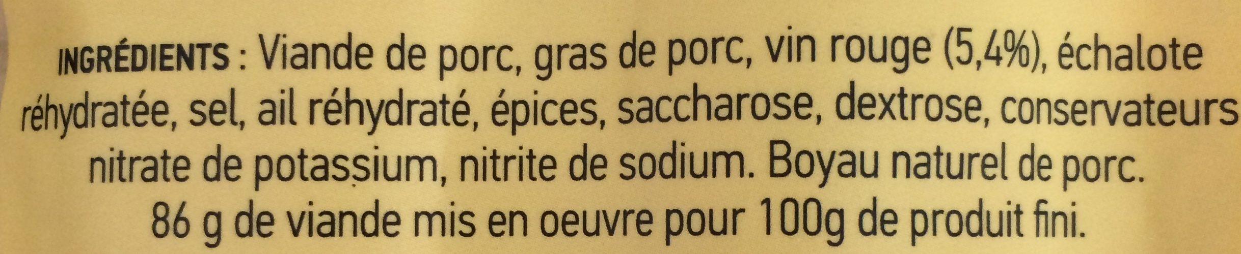 Saucisses fumées au vin - Ingredients - fr