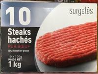 10 Steaks hachés pur boeuf 20% MG surgelés - Produit