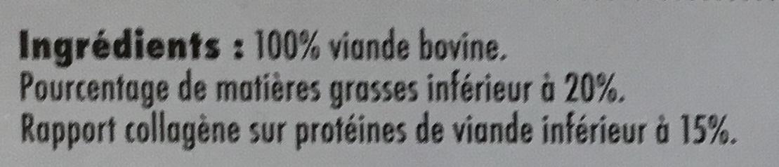10 Steaks hachés pur boeuf 20% MG surgelés - Ingrédients