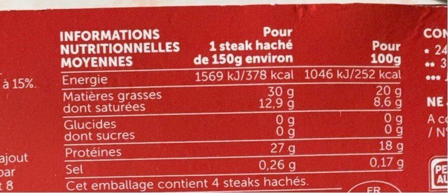 Steak haché Angus façon bouchère - Informations nutritionnelles - fr