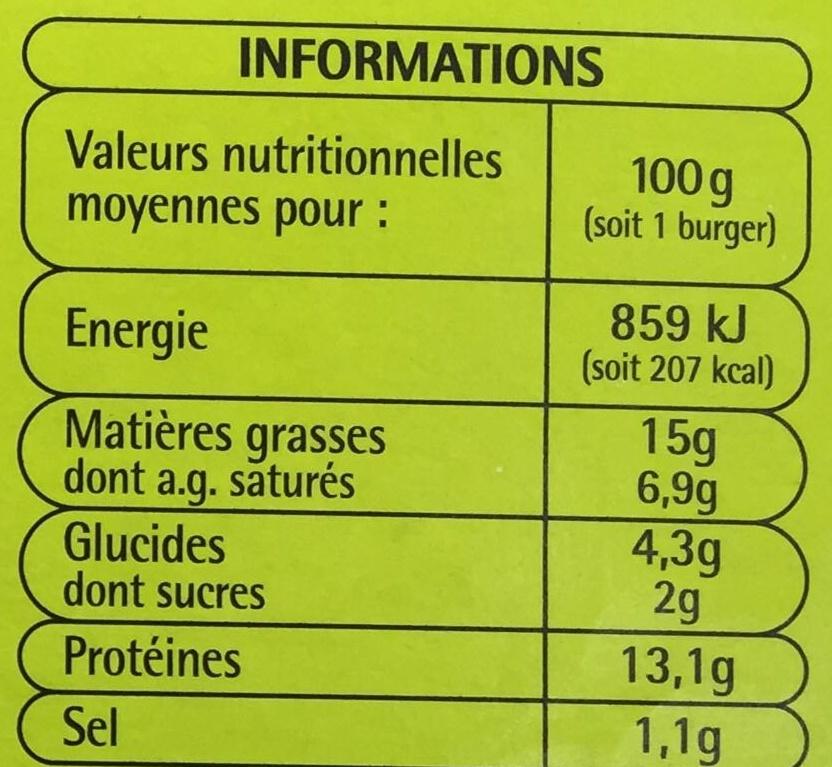 10 burgers surgelés - Informations nutritionnelles