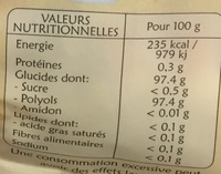 Bêtises de Cambrai sans sucres - Informations nutritionnelles