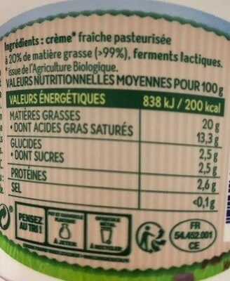 Crème fraiche légère des fermes bio de Lorraine - Ingrediënten - fr