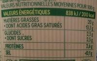 Crème fraiche légère des fermes bio de Lorraine - Voedingswaarden - fr