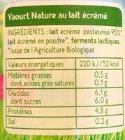 Yaourt Nature au Lait Ecrémé - Ingrediënten