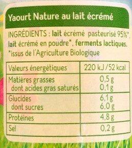 Yaourt Nature au Lait Ecrémé - Voedigswaarden