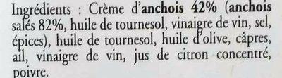 Crème d'Anchoïade - Ingrédients - fr
