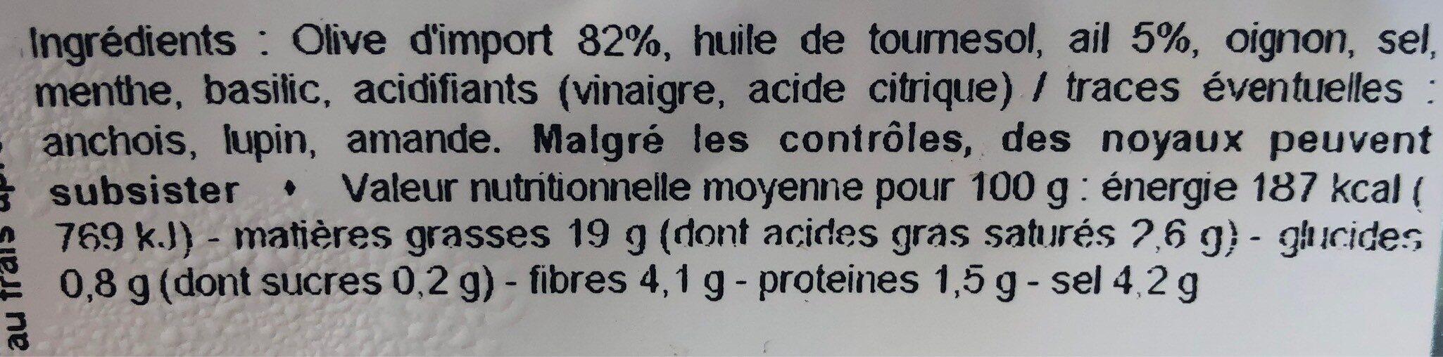 Olive verte denoyauté - Informations nutritionnelles - fr