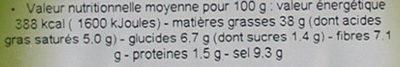 Olives noires a la grecque a la provencale - Informations nutritionnelles - fr