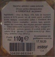 Olives vertes dénoyautées à l'orientale au piment - Nutrition facts - fr