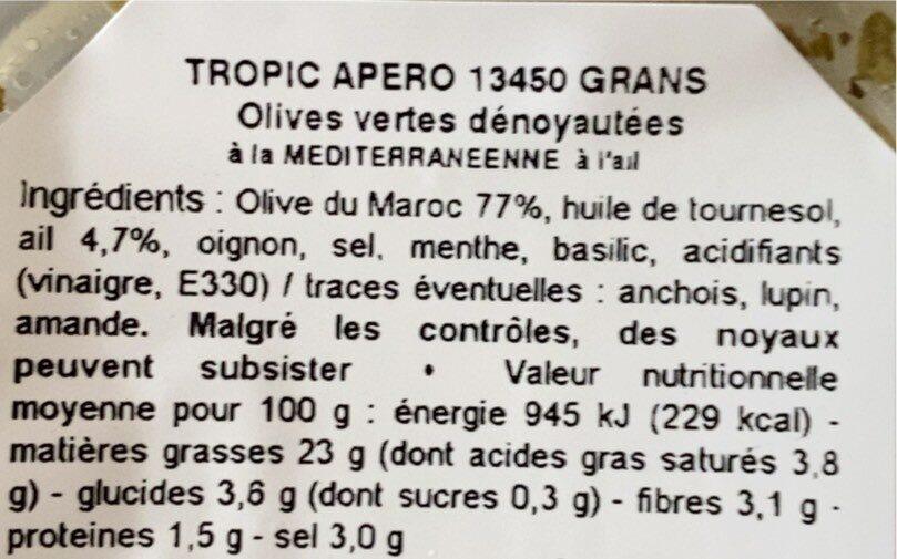 Olives vertes denoyautes à l'ail - Nutrition facts - fr