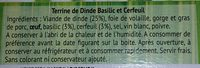 Terrine de dinde - Ingrédients - fr