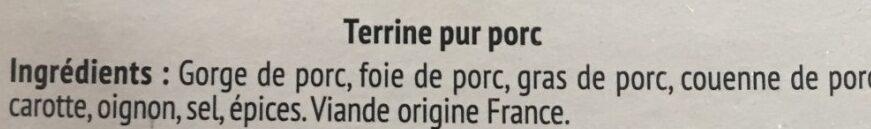 L'authentique terrine - Ingrédients - fr