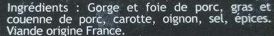 Terrine pur porc - Ingrédients - fr
