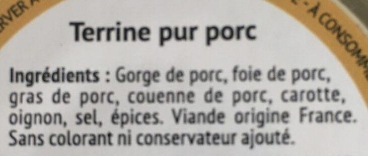 L authentique Terrine - Ingrédients - fr