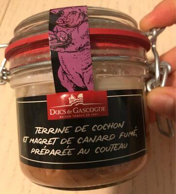 Terrine de cochon et magret de canard fumé, préparée au couteau - Produit - fr