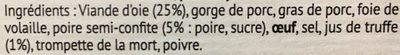 Terrine d'oie poire et jus de truffe - Ingrédients