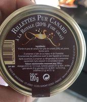 Rillettes pur canard à la royale - Produit - fr