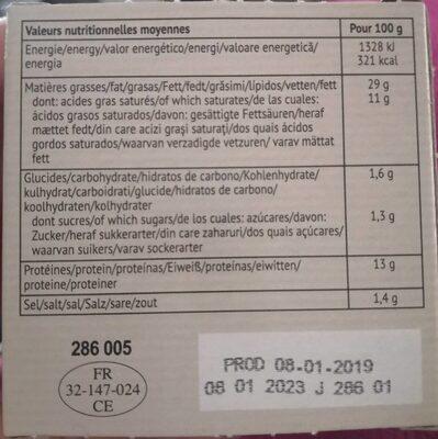 Terrine de canard à la syrah et aux figues - Informations nutritionnelles - fr