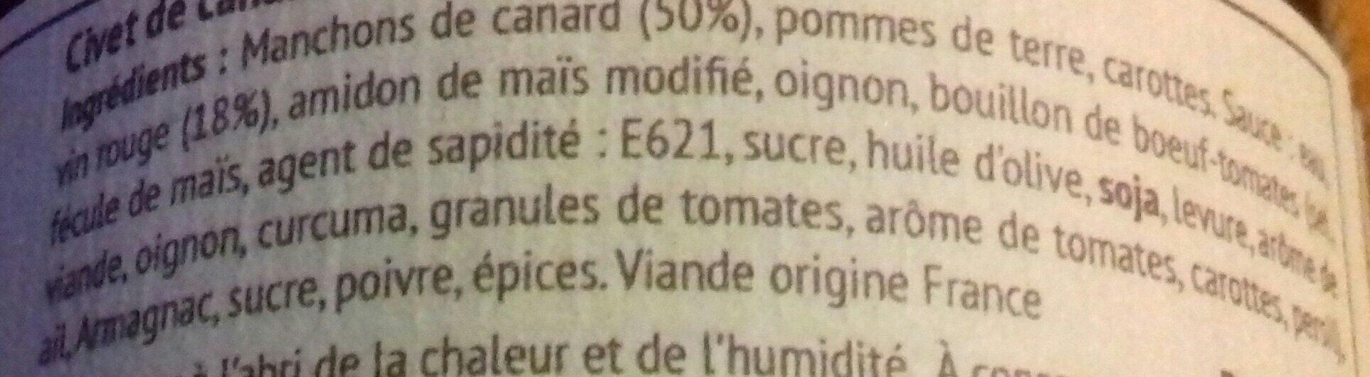 Civet de canard - Ingrediënten - fr