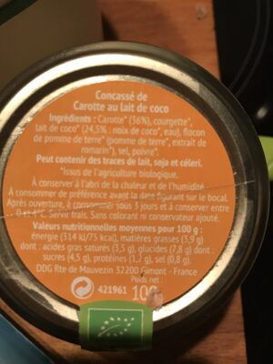 Tartinable Carotte lait de coco - Nutrition facts - fr