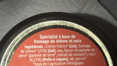 Tartinable fromage de chèvre - Ingredients