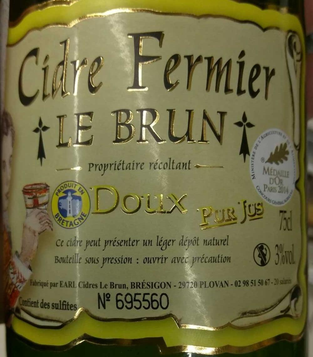 Cidre Fermier Doux - Ingredients - fr