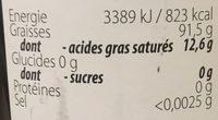 Huile d'olive - Valori nutrizionali - fr