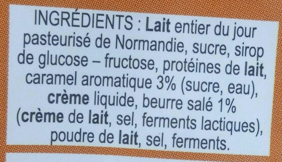 Yaourt Au Lait Du Jour Caramel beurre salé - Ingrédients - fr