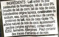 Yaourt Noix De Coco Au Lait Entier, 180 Grammes, Marque La Ferme Du Manège - Ingrediënten - fr