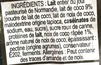 Yaourt Noix De Coco Au Lait Entier, 180 Grammes, Marque La Ferme Du Manège - Ingrediënten