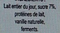 Yaourt Vanille - Ingredients - fr