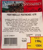 Mortadelle Pistaches Saveurs Bressanes 100 G - Produit