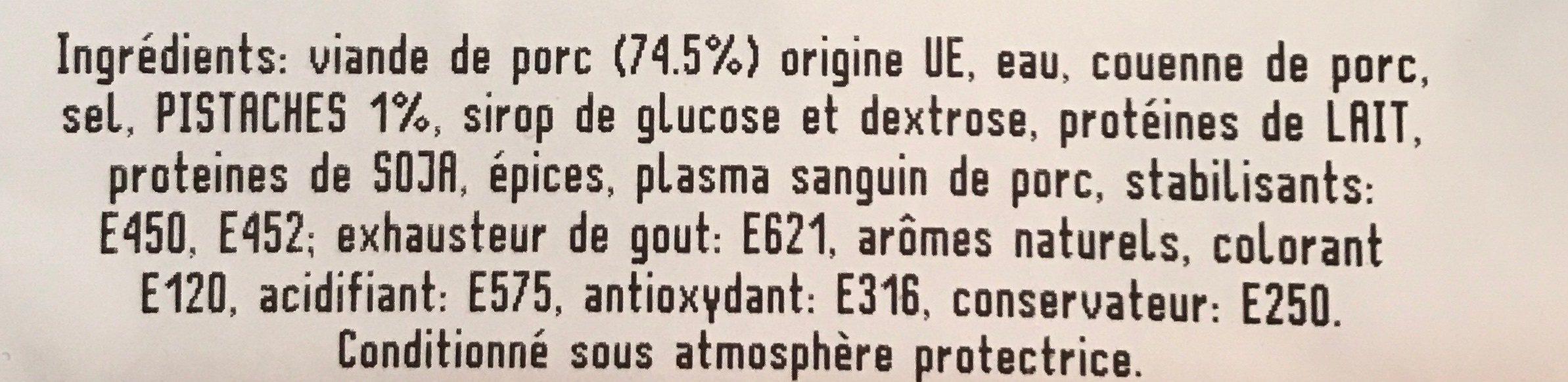 Mortadelle Pistaches Saveurs Bressanes 100 G - Ingrédients