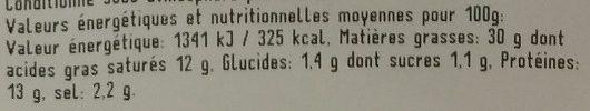 Mortadelle Pistaches Saveurs Bressanes 100 G - Informations nutritionnelles