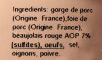 Terrine au Beaujolais - Ingrédients - fr