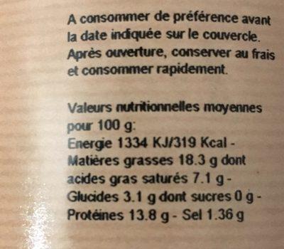 Terrine aux marrons - Informations nutritionnelles - fr
