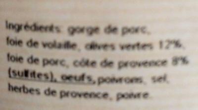 Terrine aux olives et cote de Provence - Ingrédients - fr