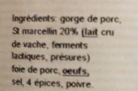 Terrine au saint-marcellin - Ingrédients - fr