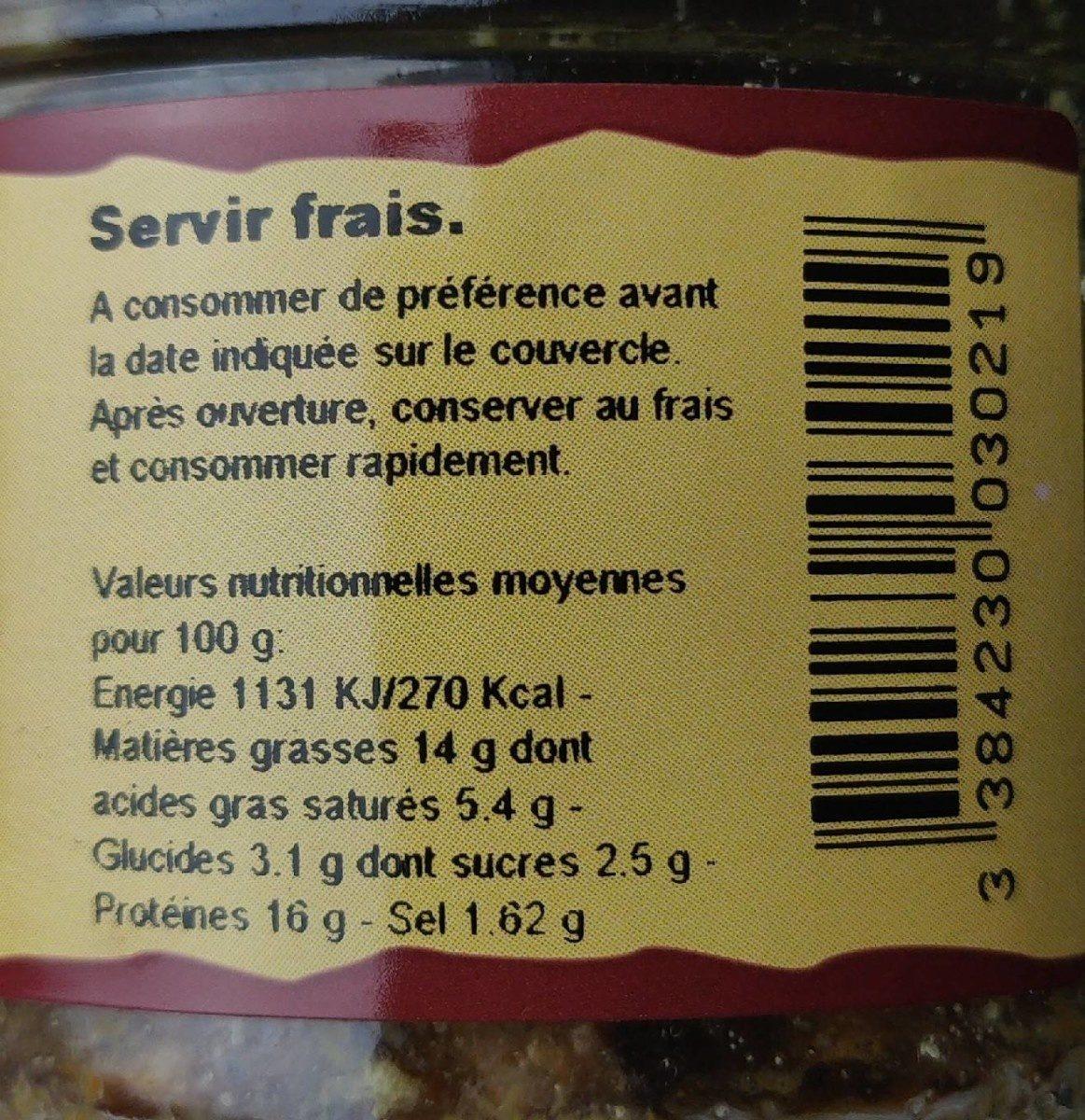 """Terrine de caille aux raisins """"marinés au Cognac"""" - Informations nutritionnelles - fr"""
