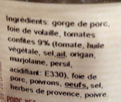 Terrine aux tomates confites - Ingrédients - fr