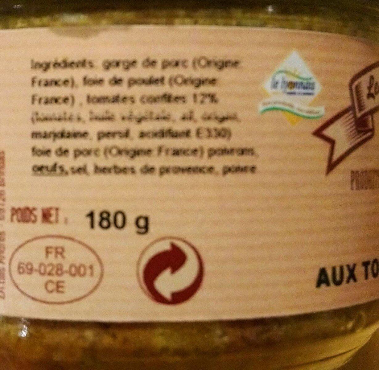 Terrine aux tomates confites - Informations nutritionnelles - fr