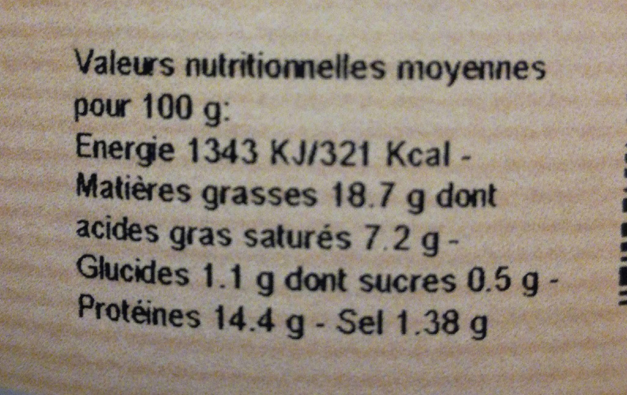Terrine au saint Joseph - Informations nutritionnelles - fr
