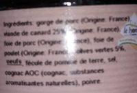 Terrine de canard aux olives - Ingredients