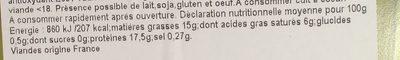 Hachés de veau façon bouchère - Nutrition facts