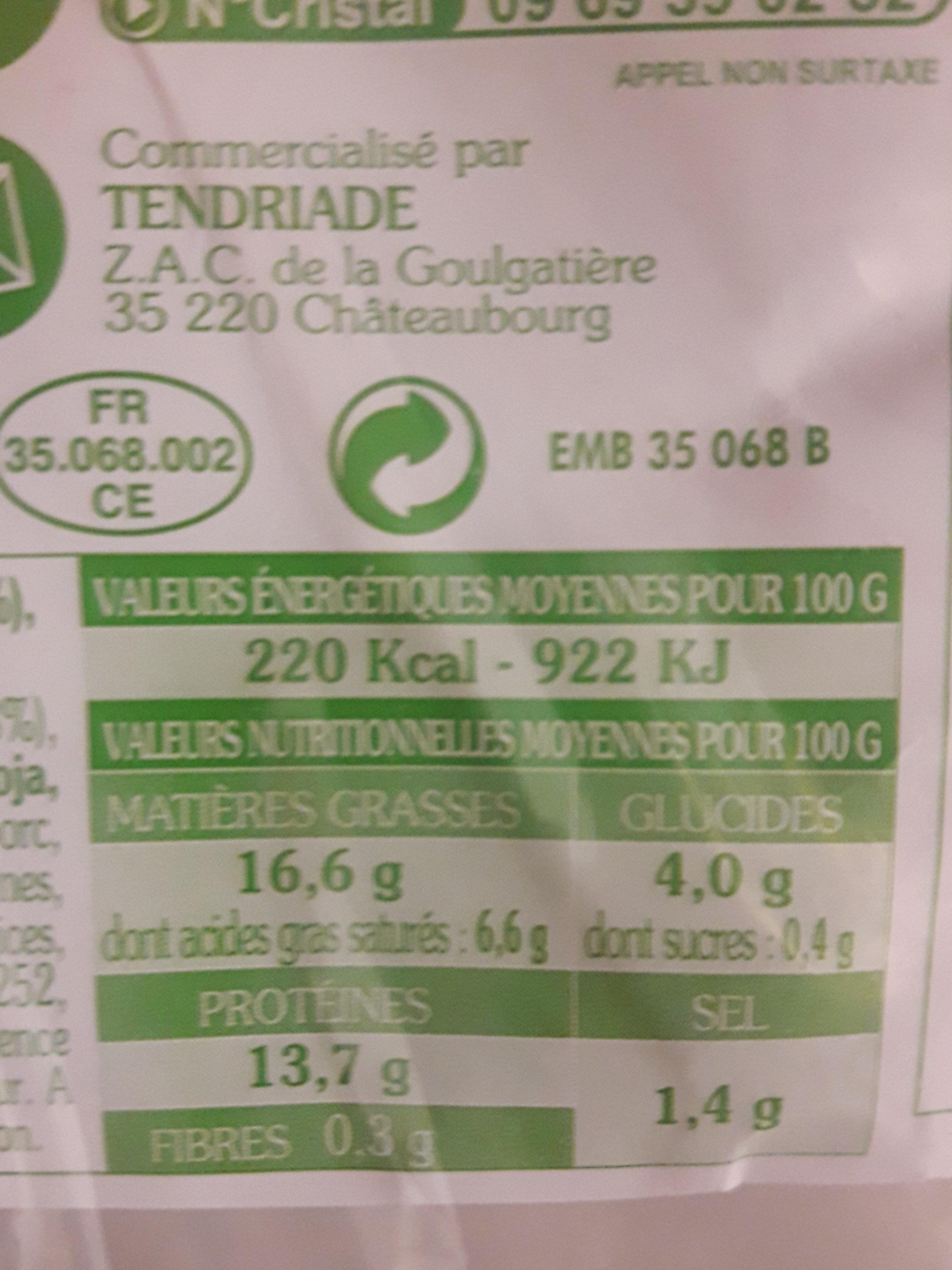 Paupiettes de veau - Voedingswaarden - fr