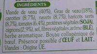 Saucisses de veau aux légumes du jardin - Ingrédients - fr