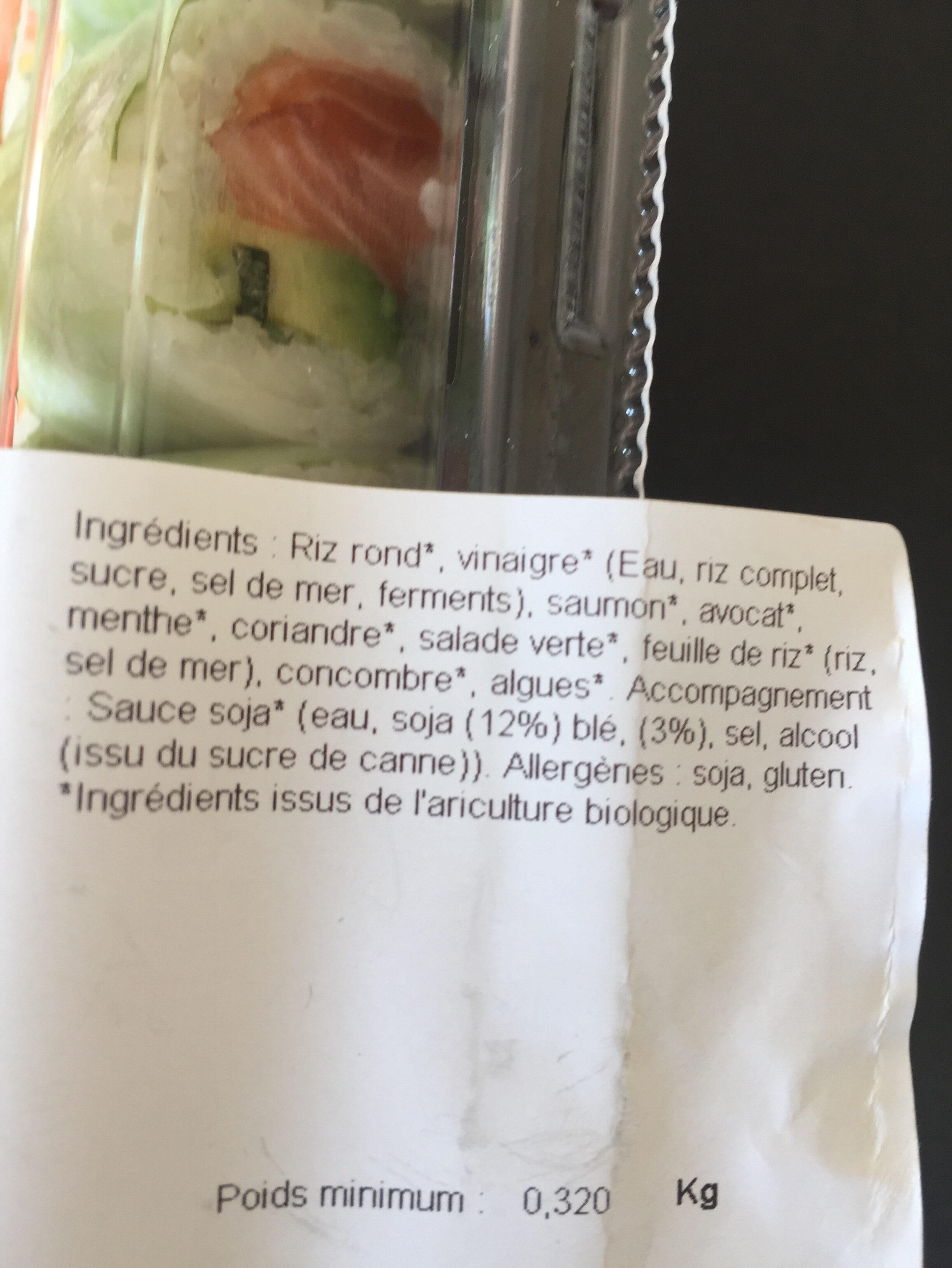 Sushi biofrais - Ingrédients - fr